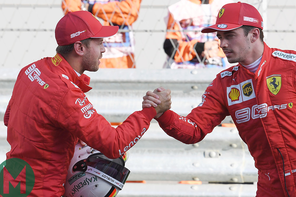 Charles Leclerc shales hands with Sebastian Vettel after outqualifying him by 0.43sec at the 2019 Russian Grand Prix