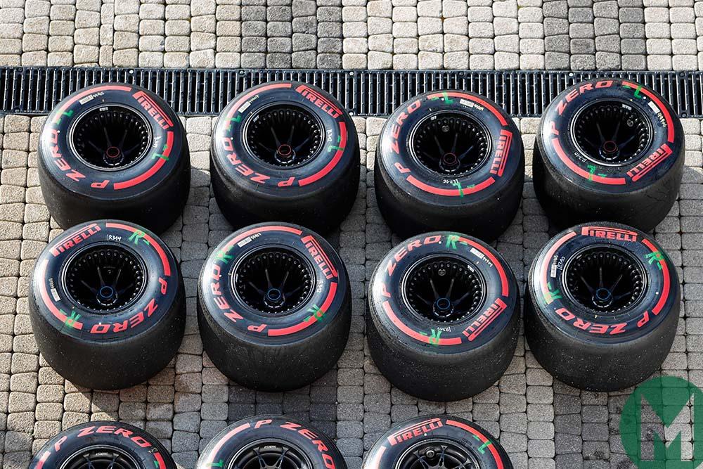 Soft Pirelli F1 tyres at Sochi for the 2019 Russian Grand Prix