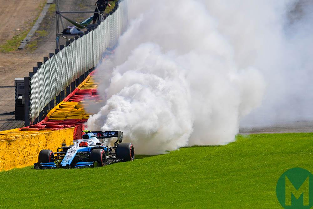 Robert Kubica's Mercedes engine blows up at the 2019 Belgian Grand Prix