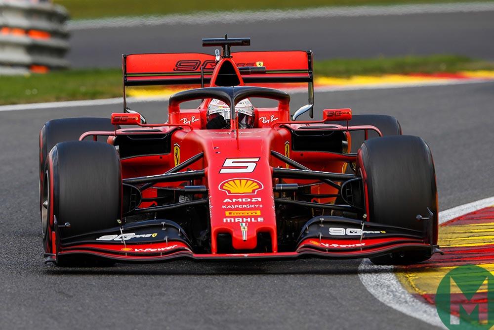 Sebastian Vettel on soft tyres at the 2019 Belgian Grand Prix