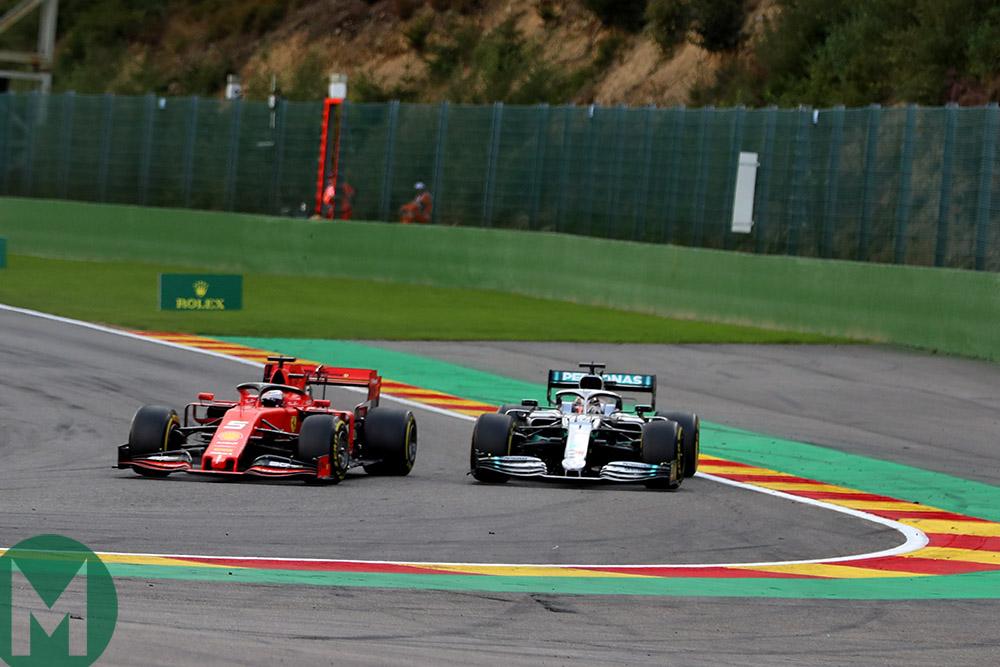 Sebastian Vettel blocks Lewis Hamilton at the 2019 Belgian Grand Prix