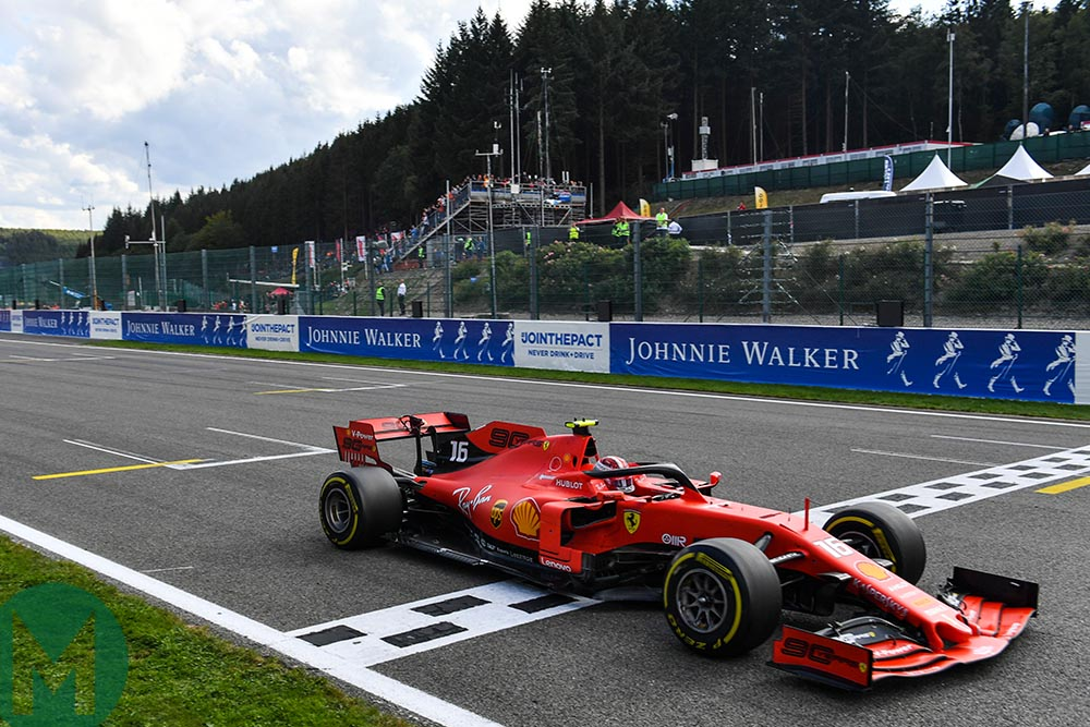 Charles Leclerc crosses the finish line to win the 2019 F1 Belgian Grand Prix