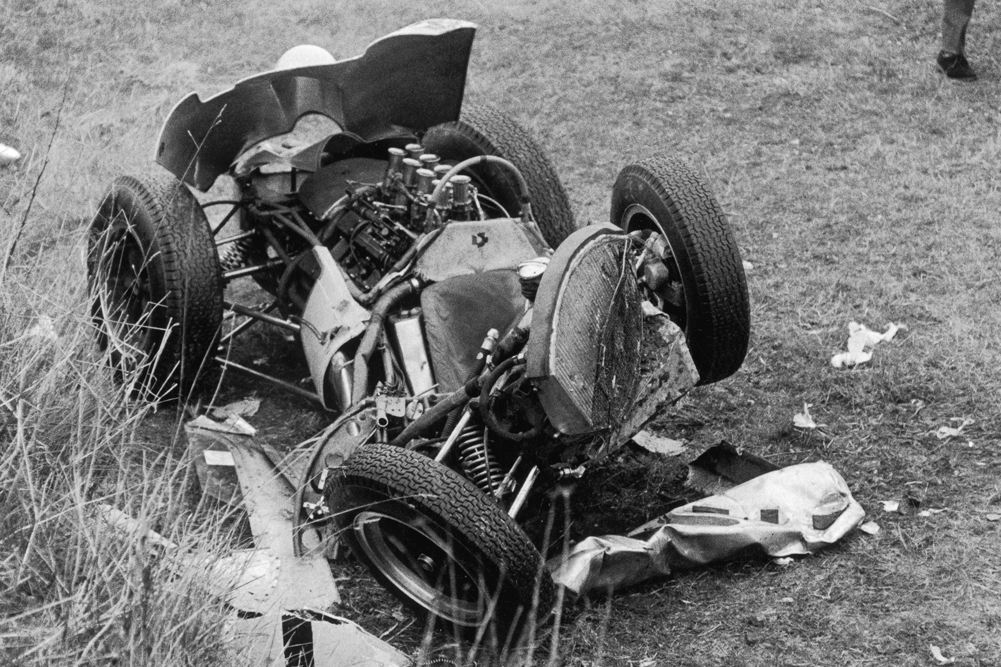 The remains of Stirling Moss's Lotus CLimax V8 after his 1962 Goodwood crash