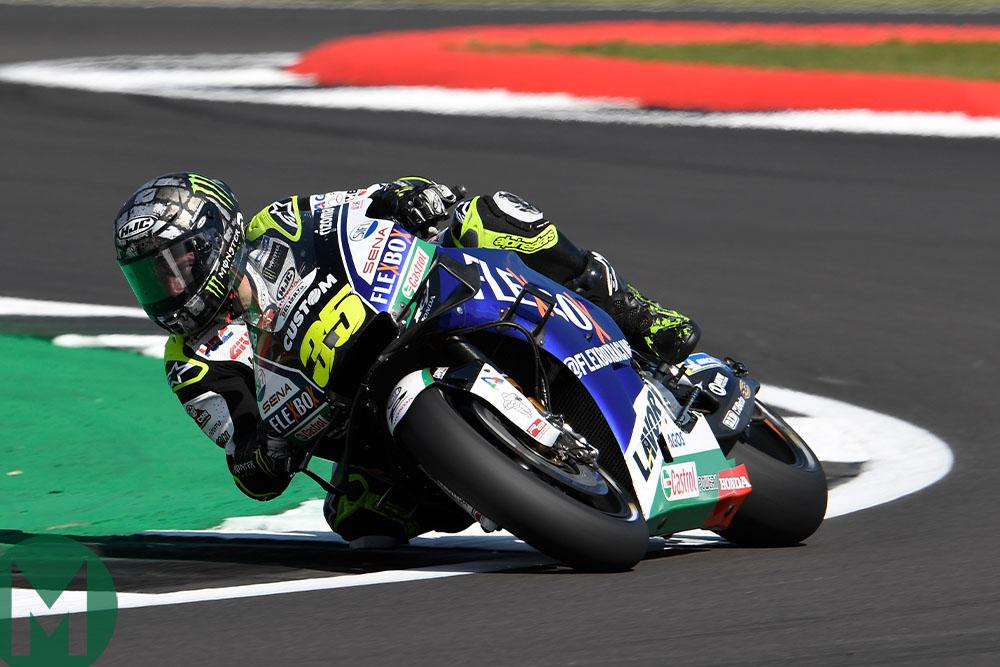 Cal Crutchlow riding at the 2019 British MotoGP race