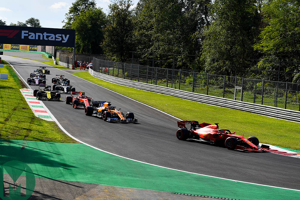 Cars bunched up during the final qualifying run before the 2019 Italian Grand Prix