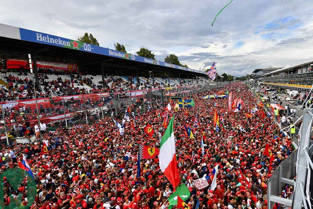 Fans below the Monza podium after the 2018 Italian Grand Prix