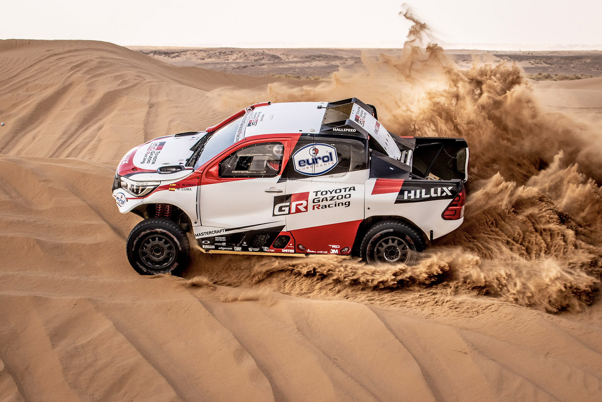 Fernando Alonso in the Toyota Hilux