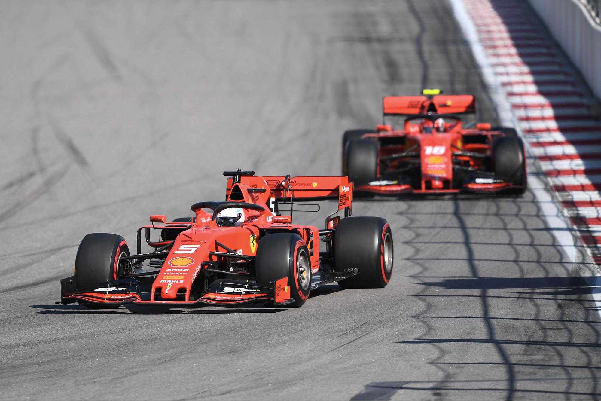 Sebastian Vettel leads during the 2019 Russian Grand Prix