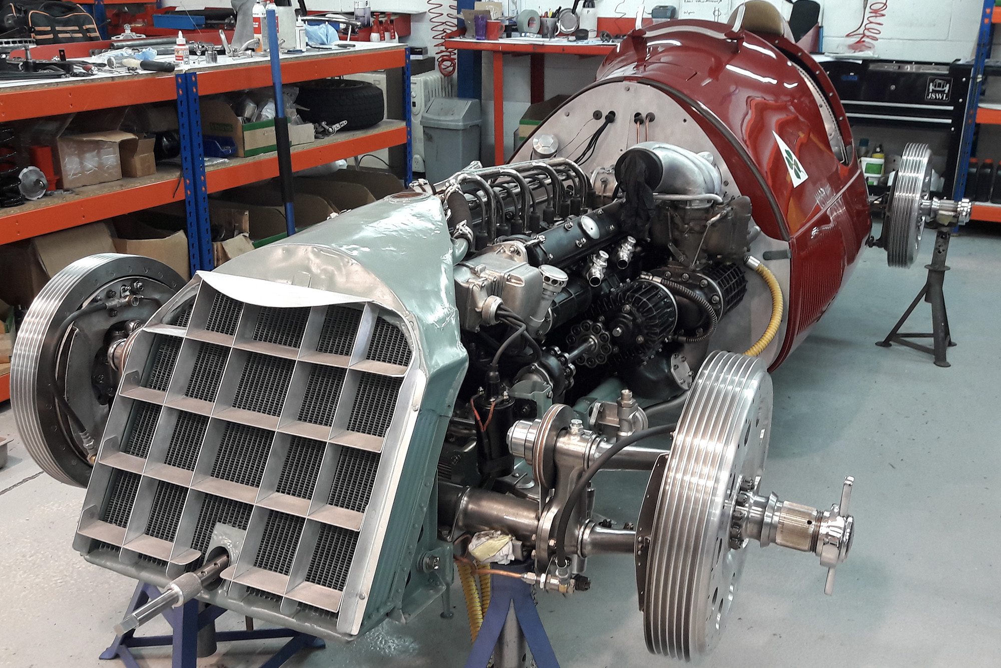 Almost completely restored Alfa 158 in the workshop