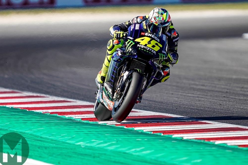 Valentino Rossi on his Yamaha at Misano
