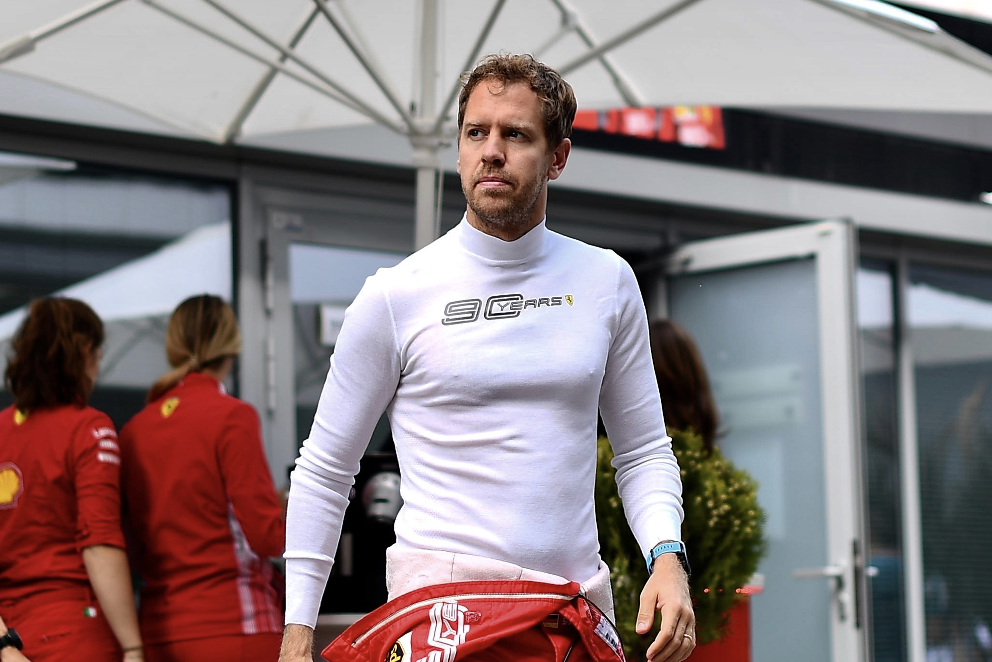 Sebastian Vettel in the paddock during the 2019 Russian Grand Prix