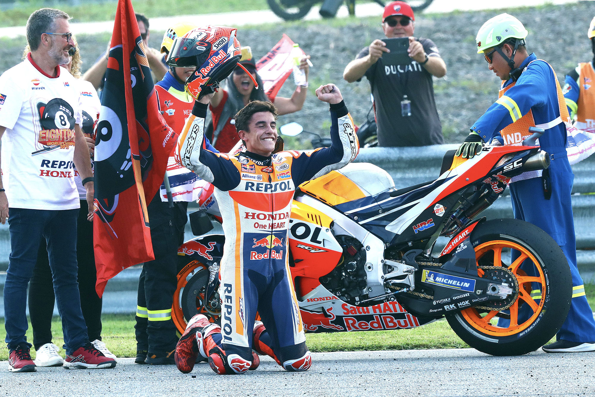 Marc Marquez on his knees after winning his sixth MotoGP championship at the 2019 Thailand Grand Prix