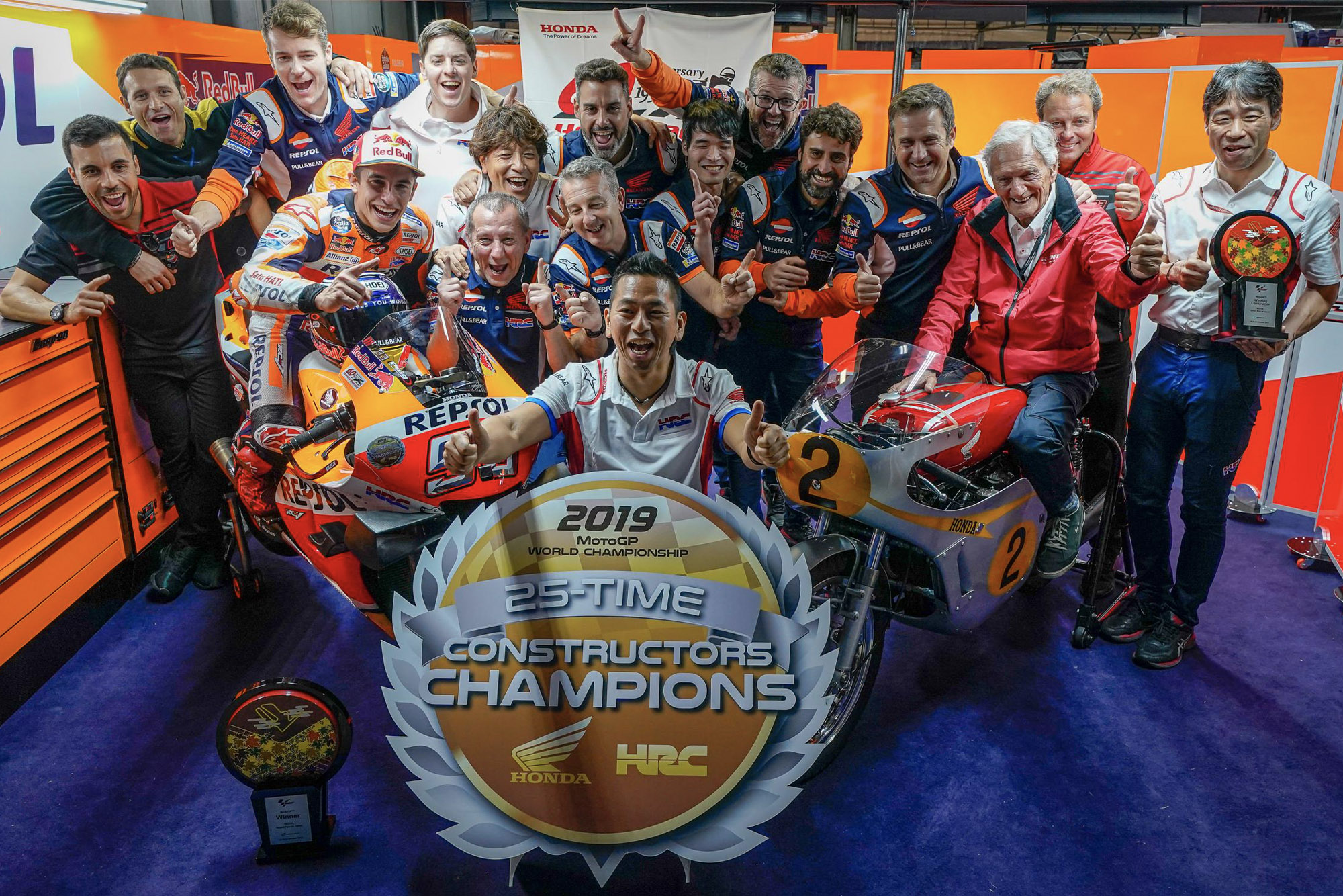 Marc Márquez celebrates Honda's latest MotoGP title win at Motegi 2019