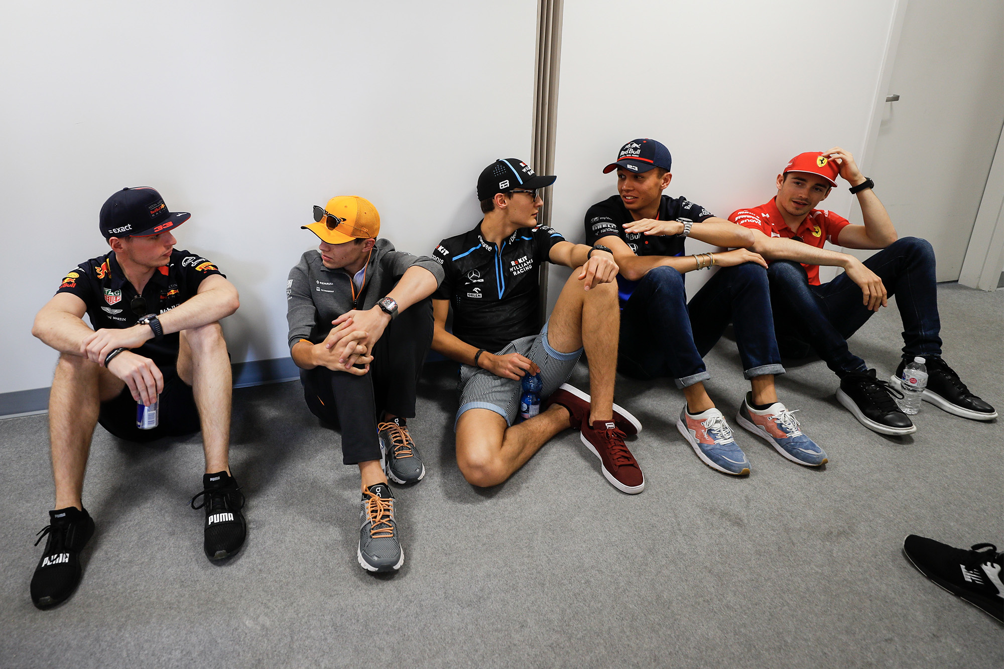 Max Verstappen, Lando Norris, George Russell, Alex Albon and Charles Leclerc