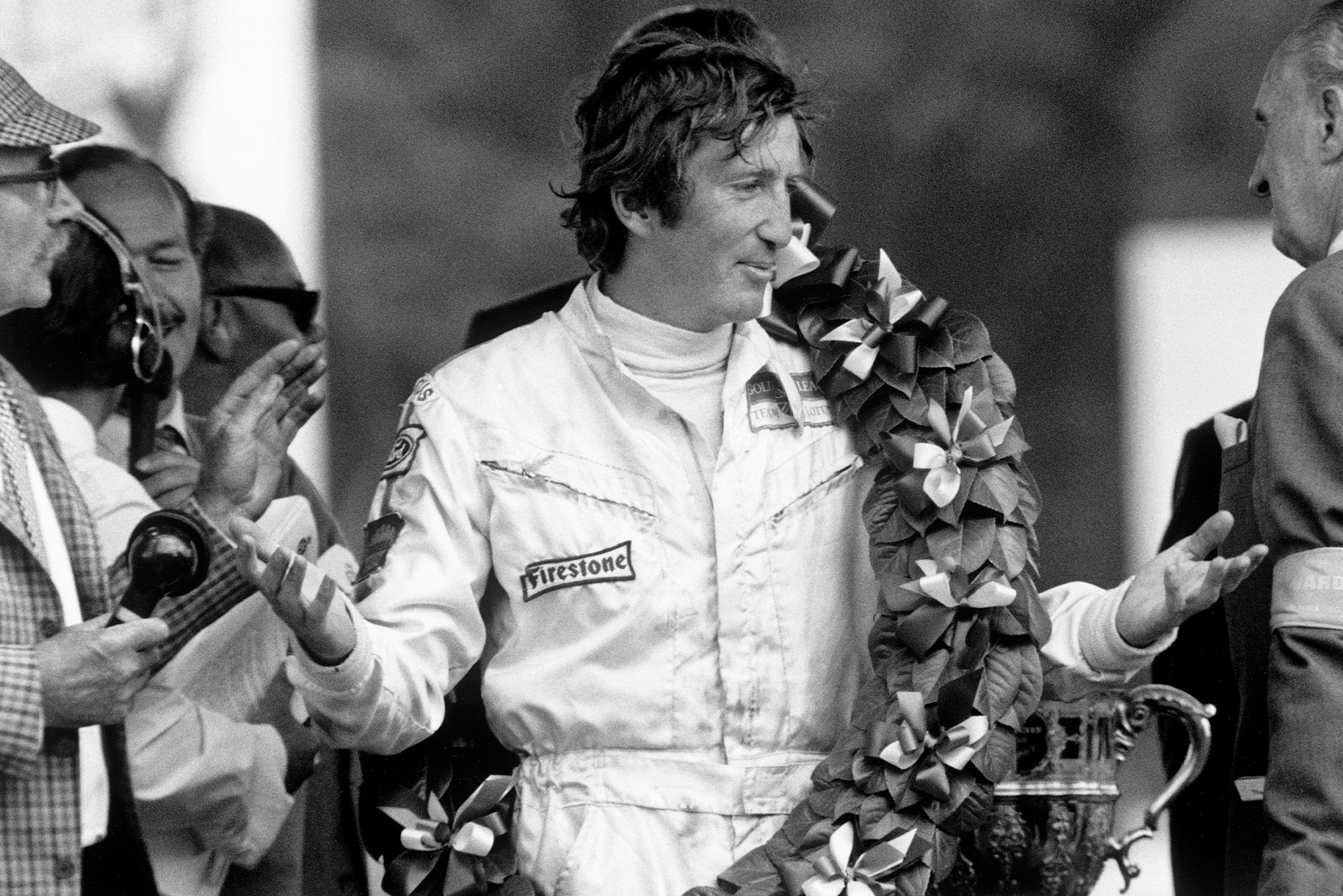 Jochen Rindt on the podium at the 1970 British Grand Prix