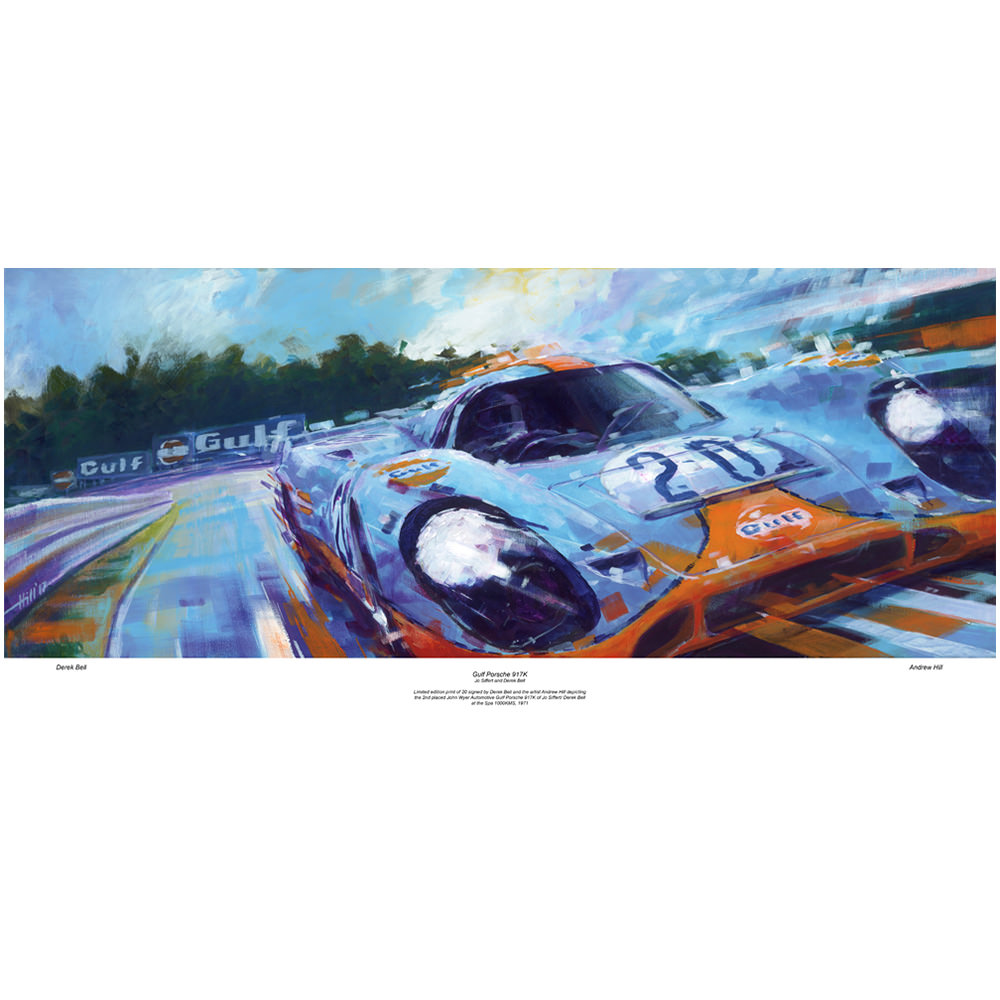 Product image for Porsche 917K - Spa-Francorchamps - 1971 | signed Derek Bell | Limited Edition print