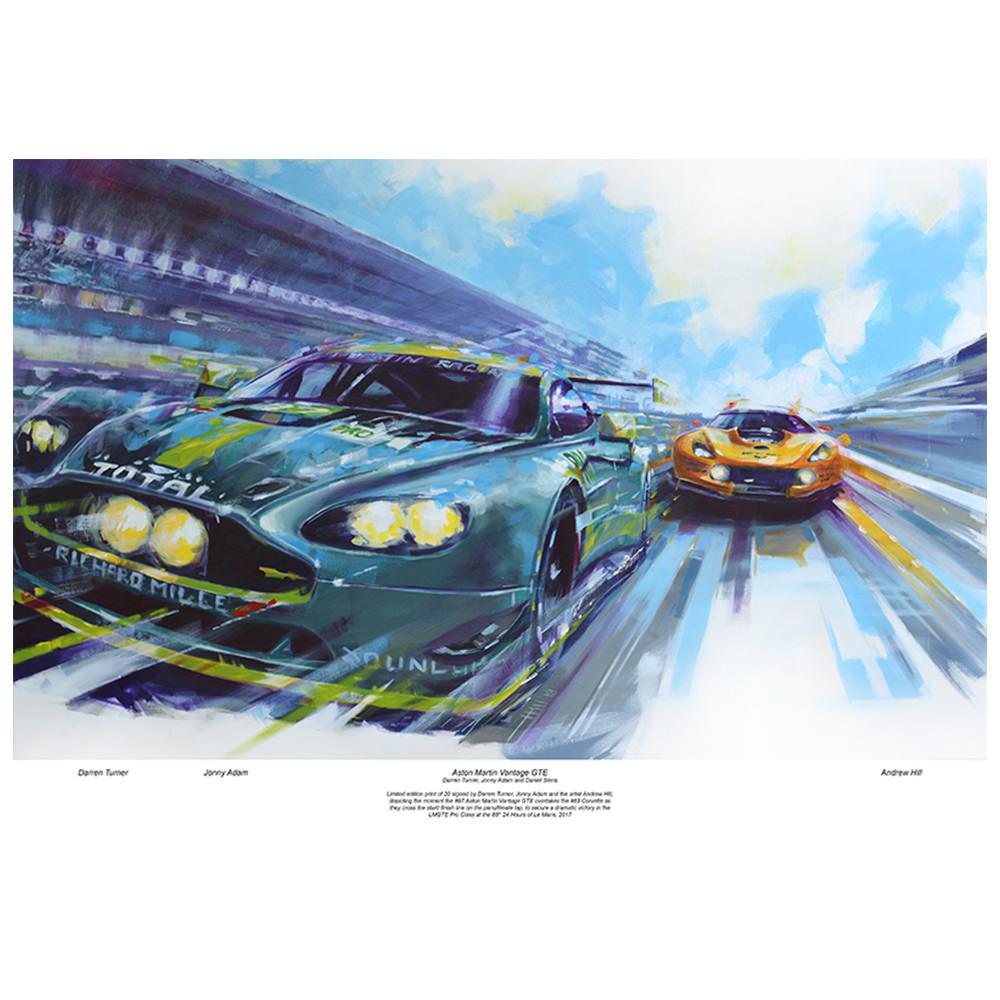 Product image for Aston Martin Vantage - Corvette C7.R   signed Darren Turner & Jonny Adam   Limited Edition print