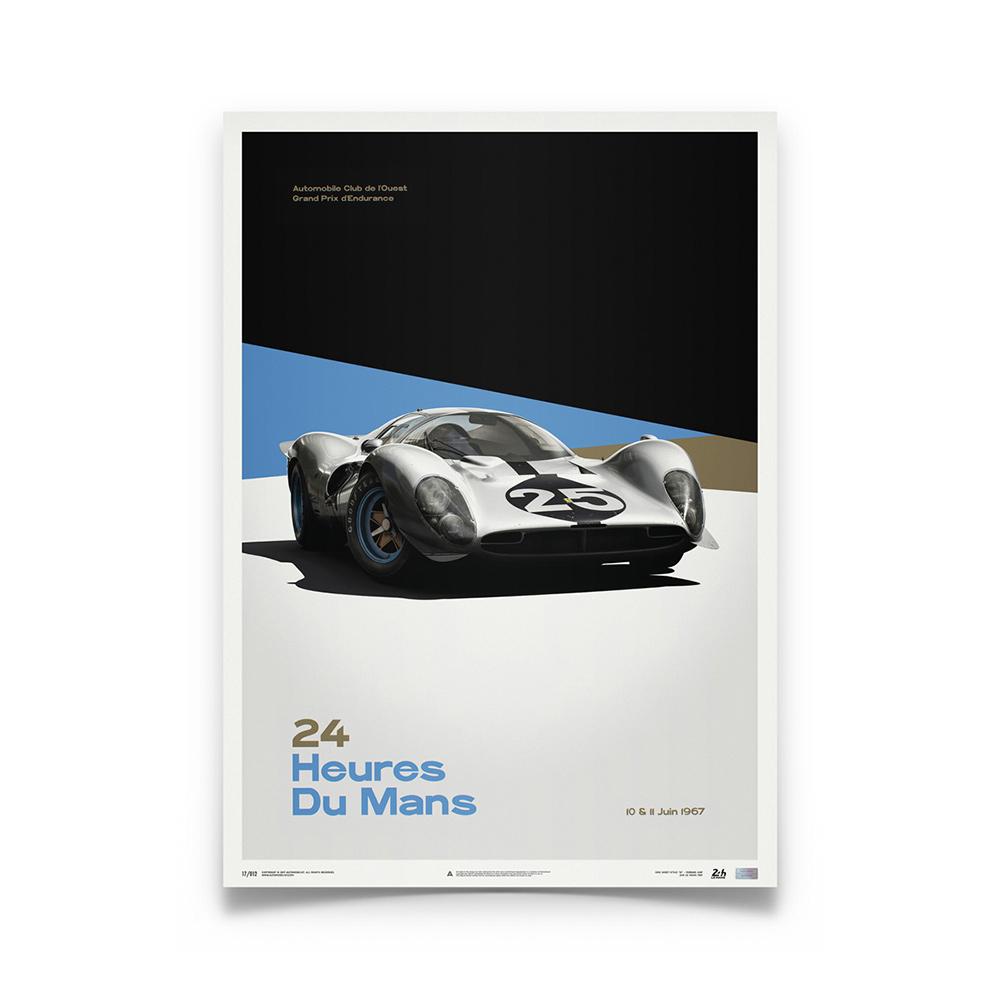 Product image for Ferrari 412P - White - Le Mans 1967   Automobilist   Limited Edition poster