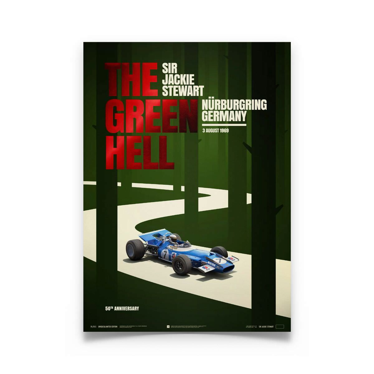 Product image for Jackie Stewart - The Green Hell - 1969 | Limited Edition poster