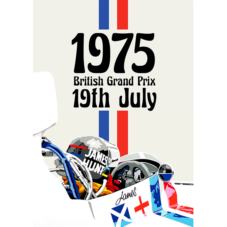 Product image for James Hunt – Hesketh  – 1975 British Grand Prix | Joel Clark | contemporary poster