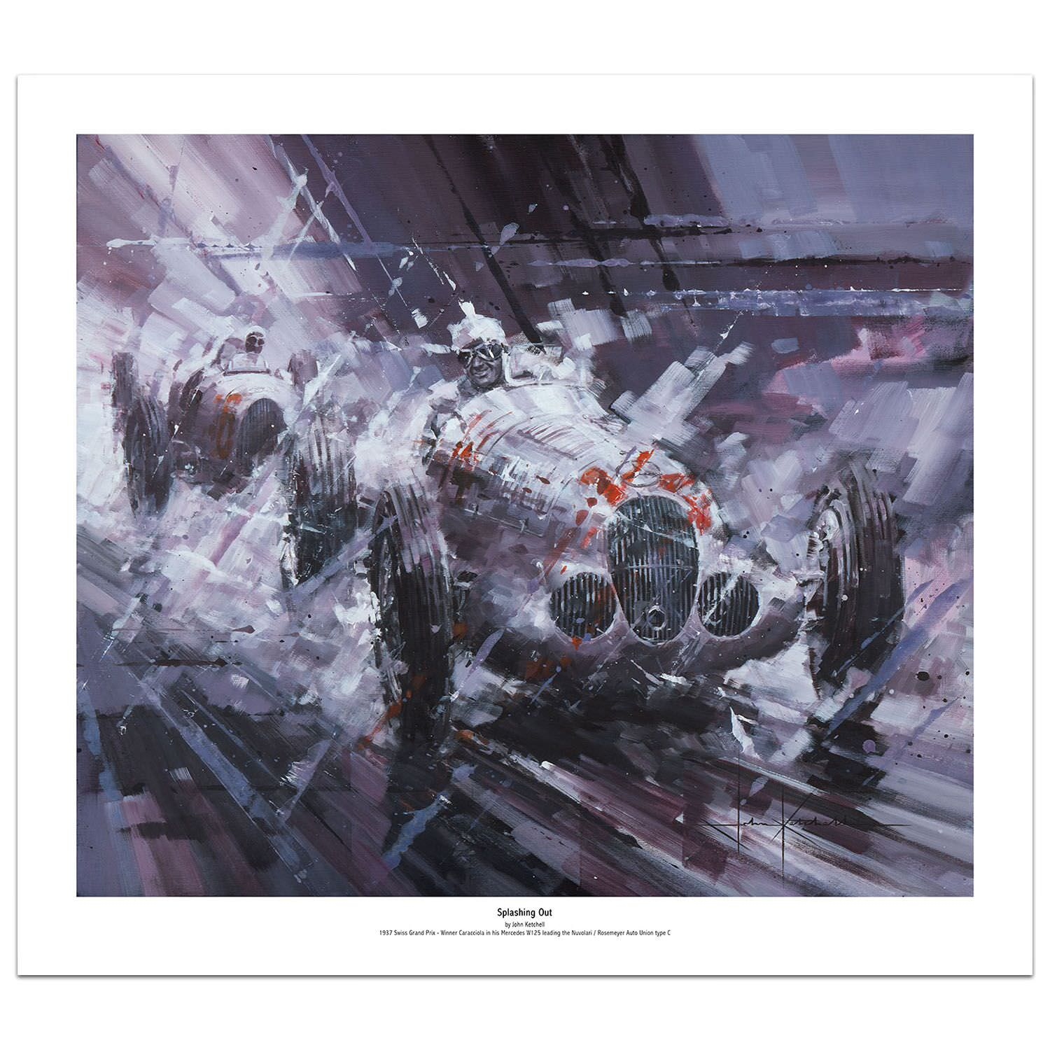 Product image for Splashing Out | Rudolf Caracciola - Mercedes W125 - 1937 | Limited Edition print