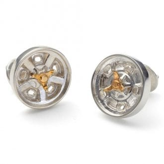 Product image for Indy Roadster - Sterling Silver / Brass Spinner | Cufflinks