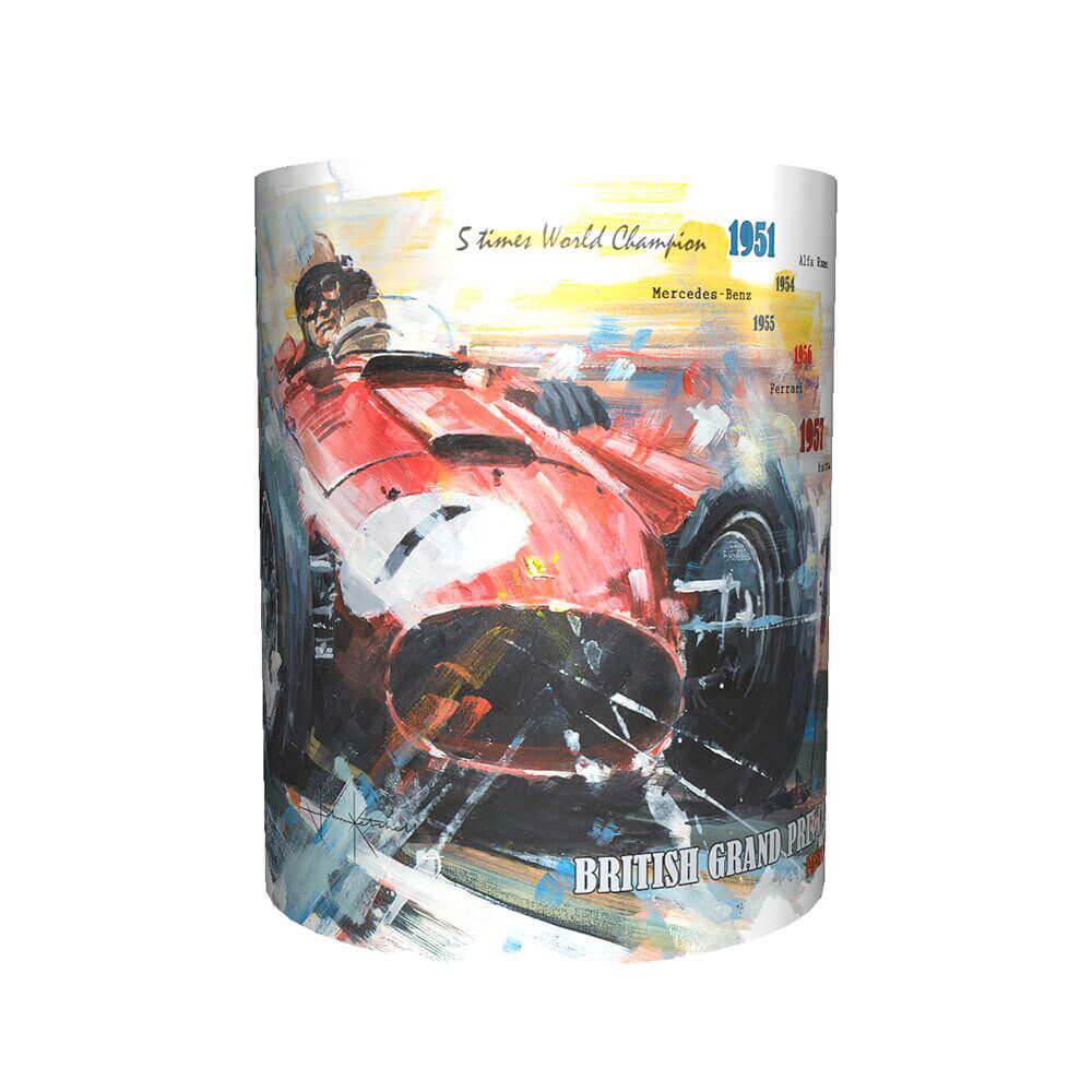 Product image for Juan Manuel Fangio & Ferrari - Artwork   John Ketchell   Mug