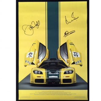 Product image for Harrods McLaren F1GTR - 1995 - Le Mans   signed Derek Bell & Andy Wallace   poster