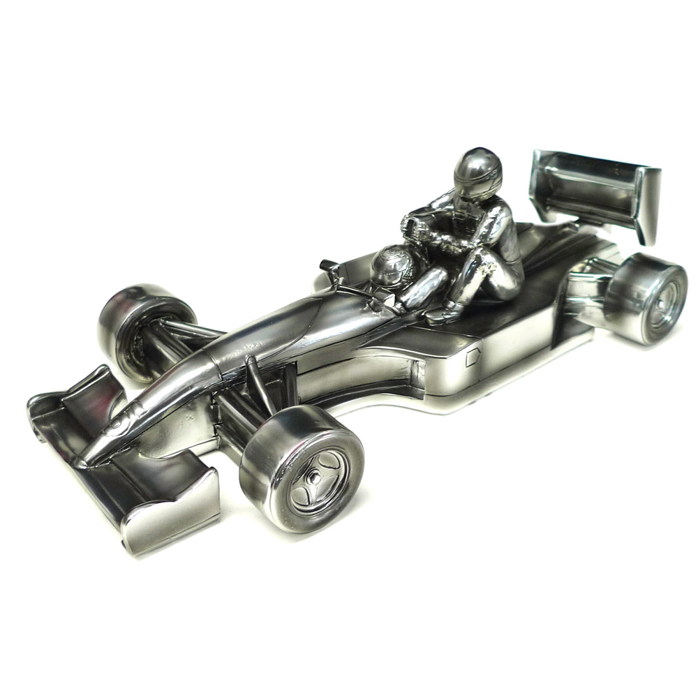 Product image for Taxi for Senna | Nigel Mansell - Williams FW14 - 1991 | signed Nigel Mansell | chrome sculpture