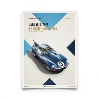 Product image for Jaguar D-Type - Le Mans - 1957    Automobilist   poster