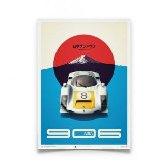 Product image for Porsche 906 – White – 1967 Japanese GP   Automobilist   Limited Edition poster