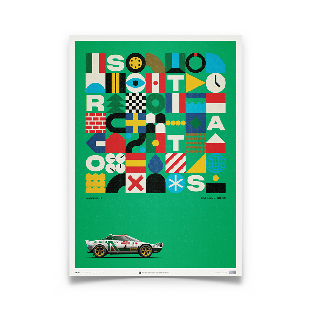 Product image for Lancia Stratos HF – Green Alitalia – 1974 | Automobilist | Limited Edition poster
