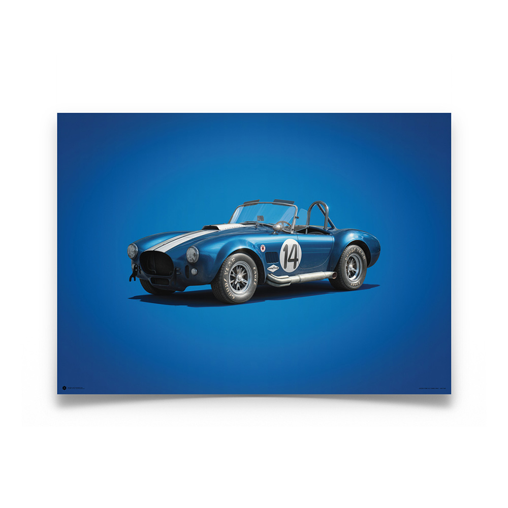 Product image for Shelby-Ford AC Cobra Mk II – Blue – 1965   Automobilist   Limited Edition poster