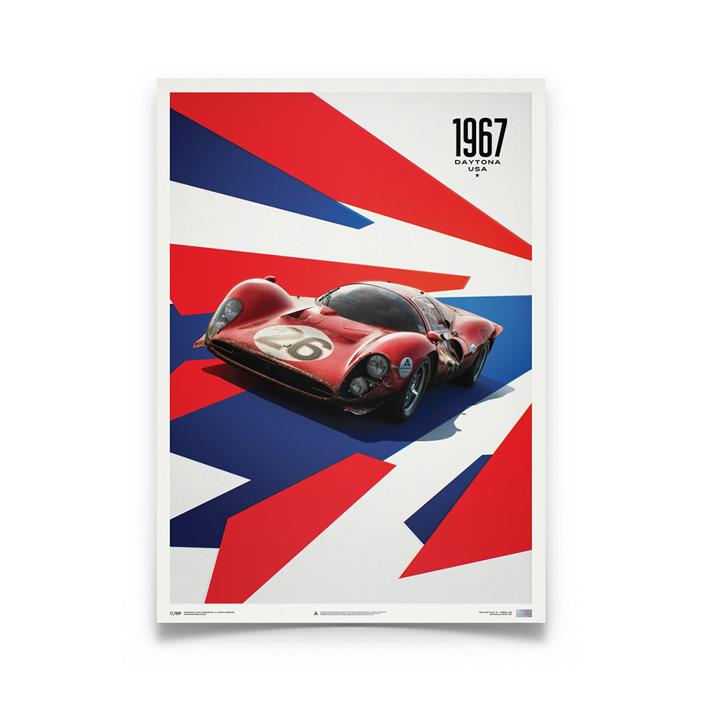 Product image for Ferrari 412P - Red - Daytona 1967   Automobilist   Limited Edition poster