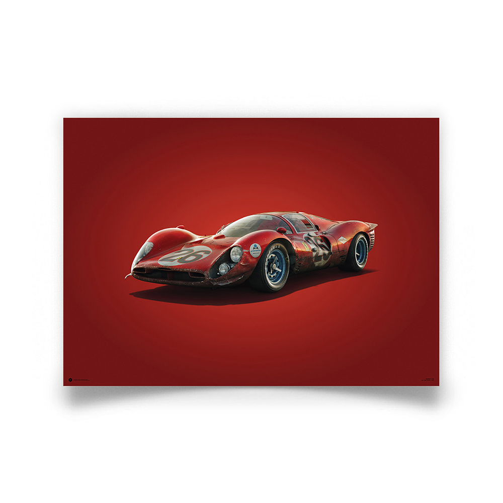 Product image for Colours of Speed   Ferrari 412P – Red – Daytona 1967   Automobilist   Limited Edition poster