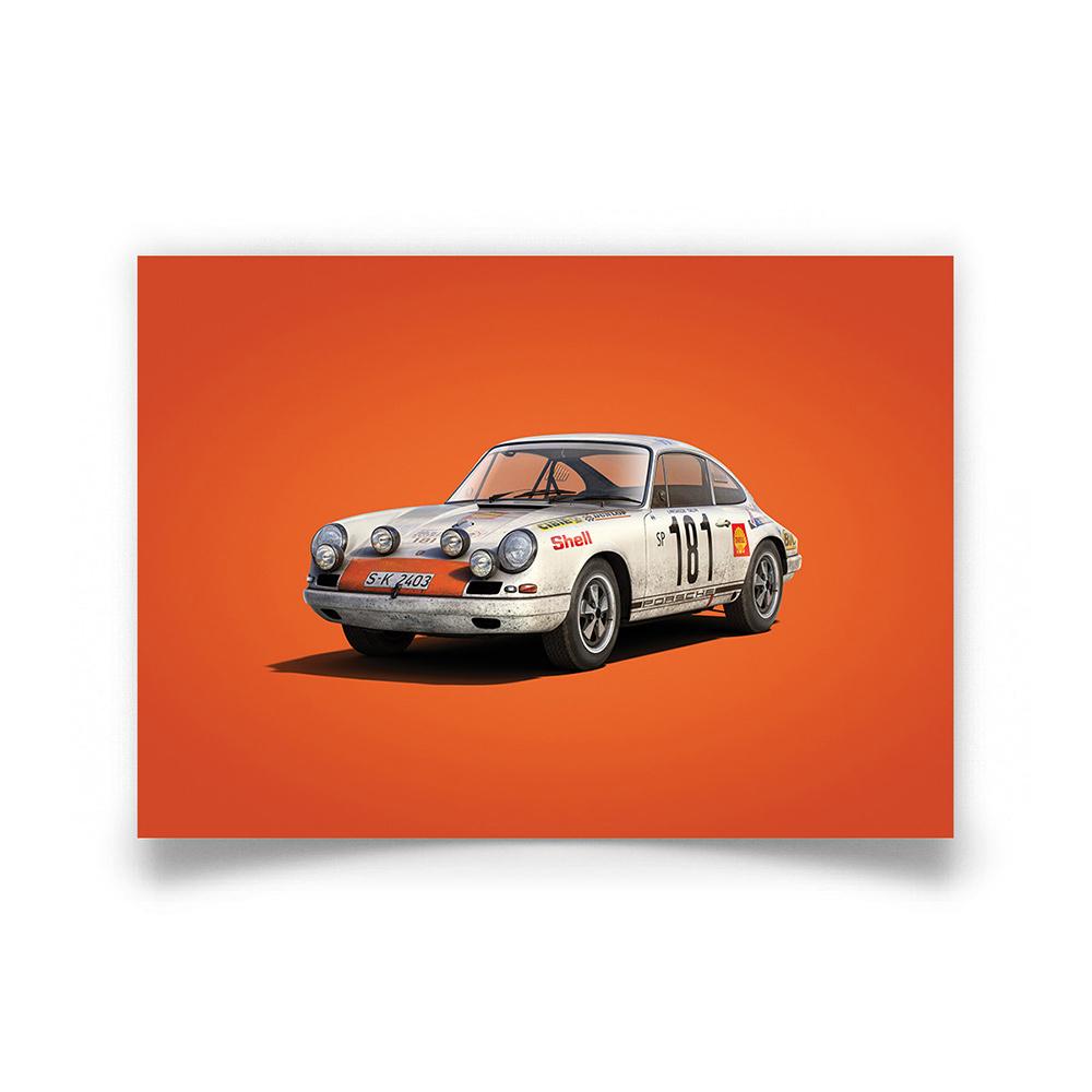 Product image for Colours of Speed   Porsche 911 RS – White – 1969 Tour de France   Automobilist   Limited Edition poster