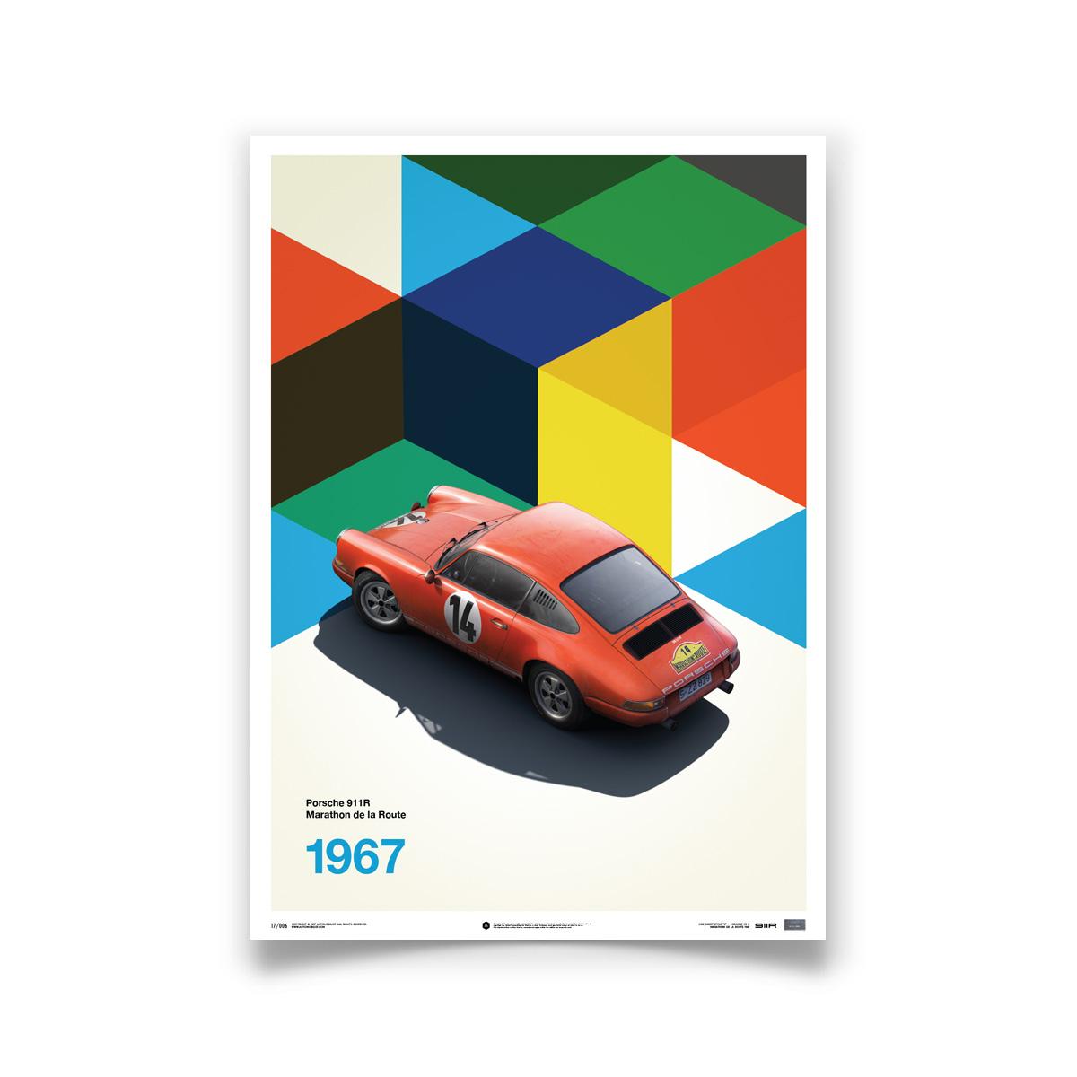 Product image for Porsche 911 R – Red – 1967 Marathon de la Route   Automobilist   Limited Edition poster