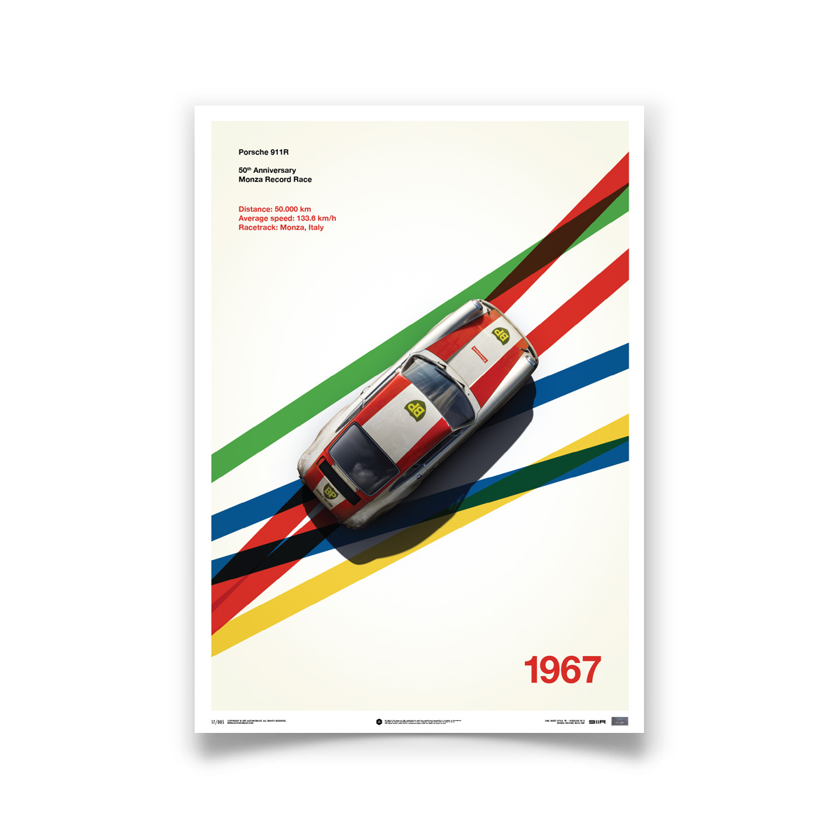 Product image for Porsche 911R – BP Racing – 1967 Monza   Automobilist   Limited Edition poster