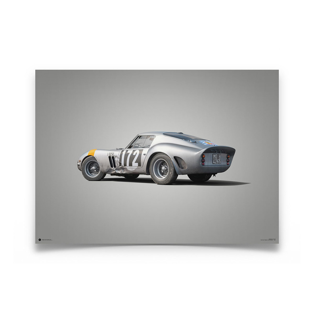 Product image for Colours of Speed   Ferrari 250 GTO – Silver – 1964 Tour de France   Automobilist   Limited Edition poster
