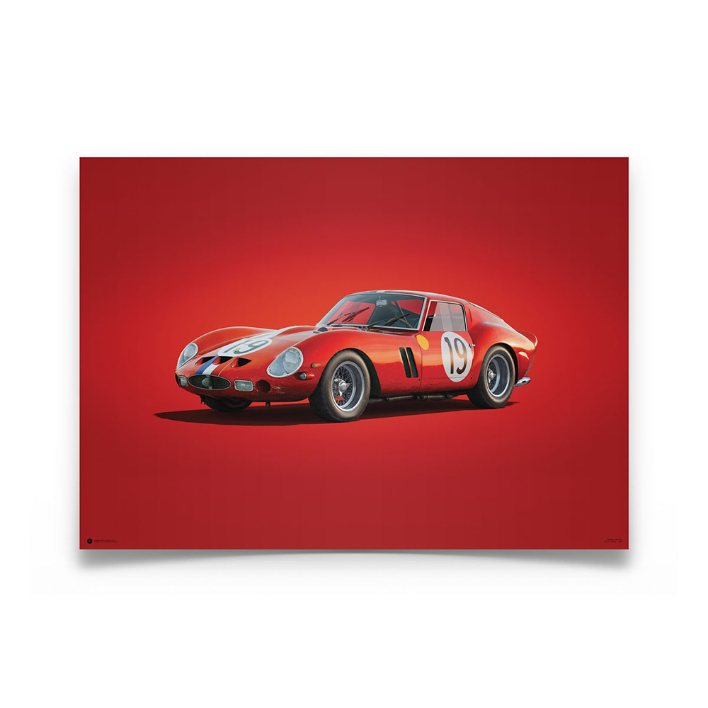 Product image for Colours of Speed   Ferrari 250 GTO – Red – 1962 Le Mans   Automobilist   Limited Edition poster