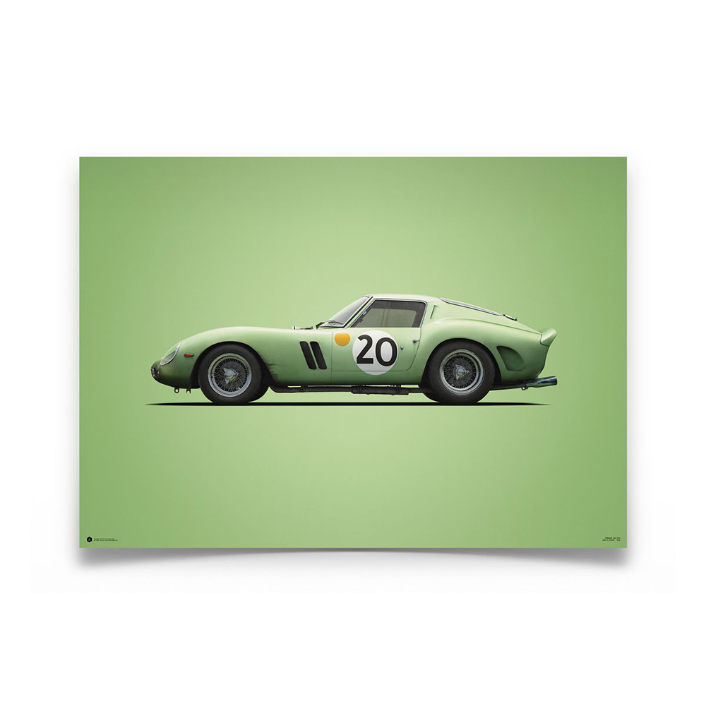 Product image for Colours of Speed   Ferrari 250 GTO – Green – 1962 Le Mans   Automobilist   Limited Edition poster