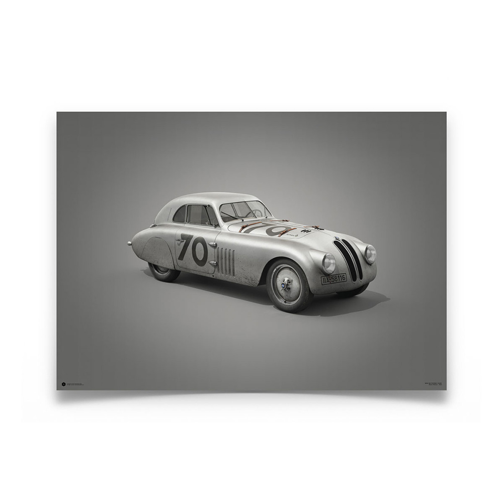 Product image for BMW 328 – Silver – 1940 Mille Miglia   Automobilist   Limited Edition poster