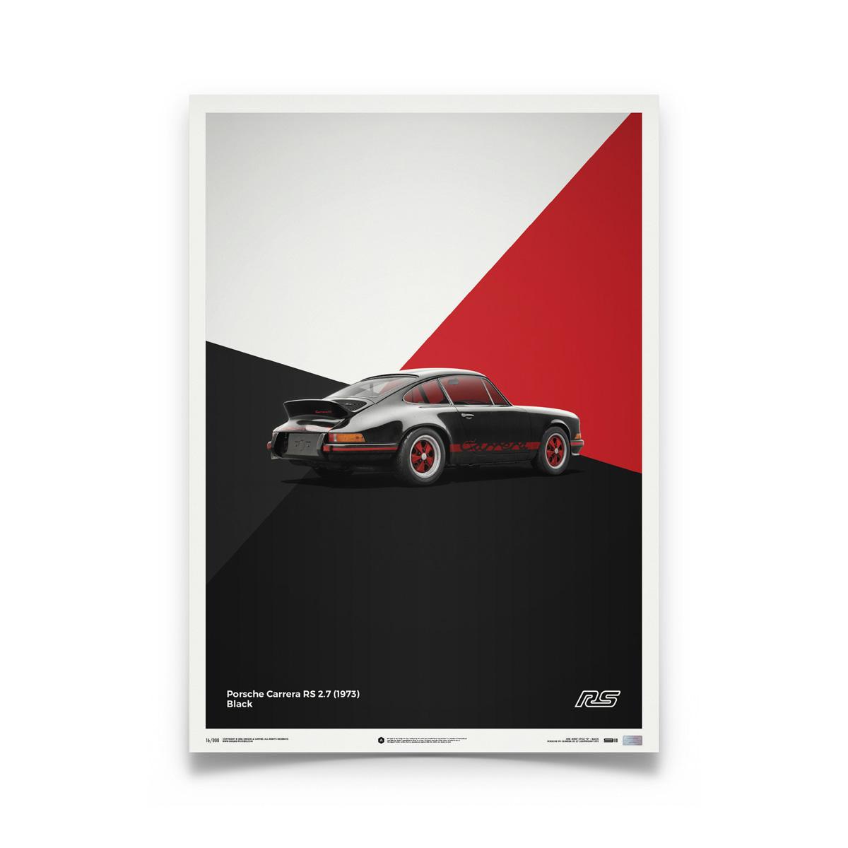 Product image for Porsche 911 RS – Black – 1973   Automobilist   Limited Edition poster