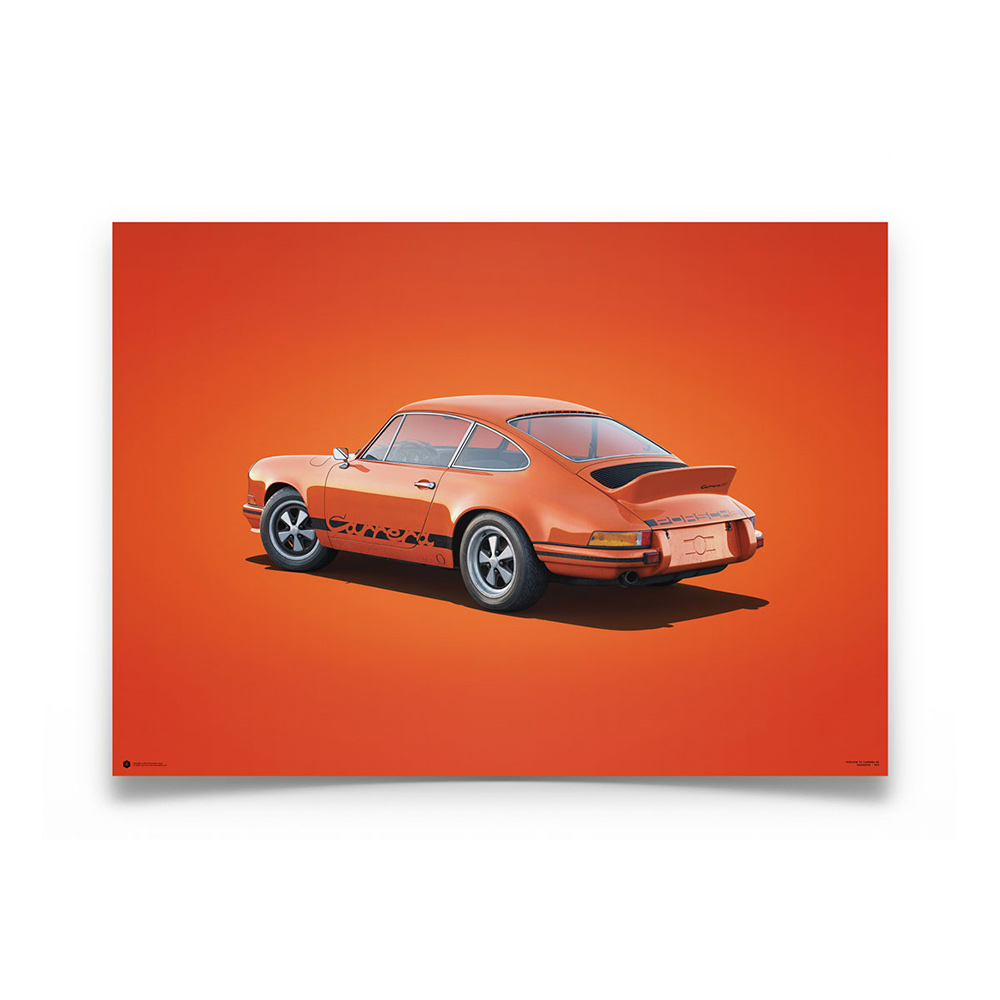 Product image for Colours of Speed   Porsche 911 RS – Tangerine – 1973   Automobilist   Limited Edition poster