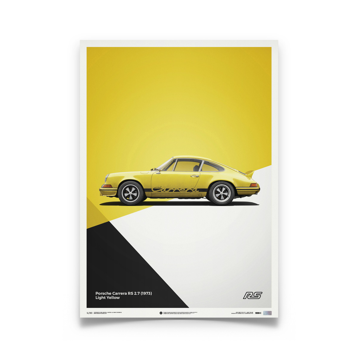 Product image for Porsche 911 RS – Yellow - 1973 | Automobilist | Limited Edition poster