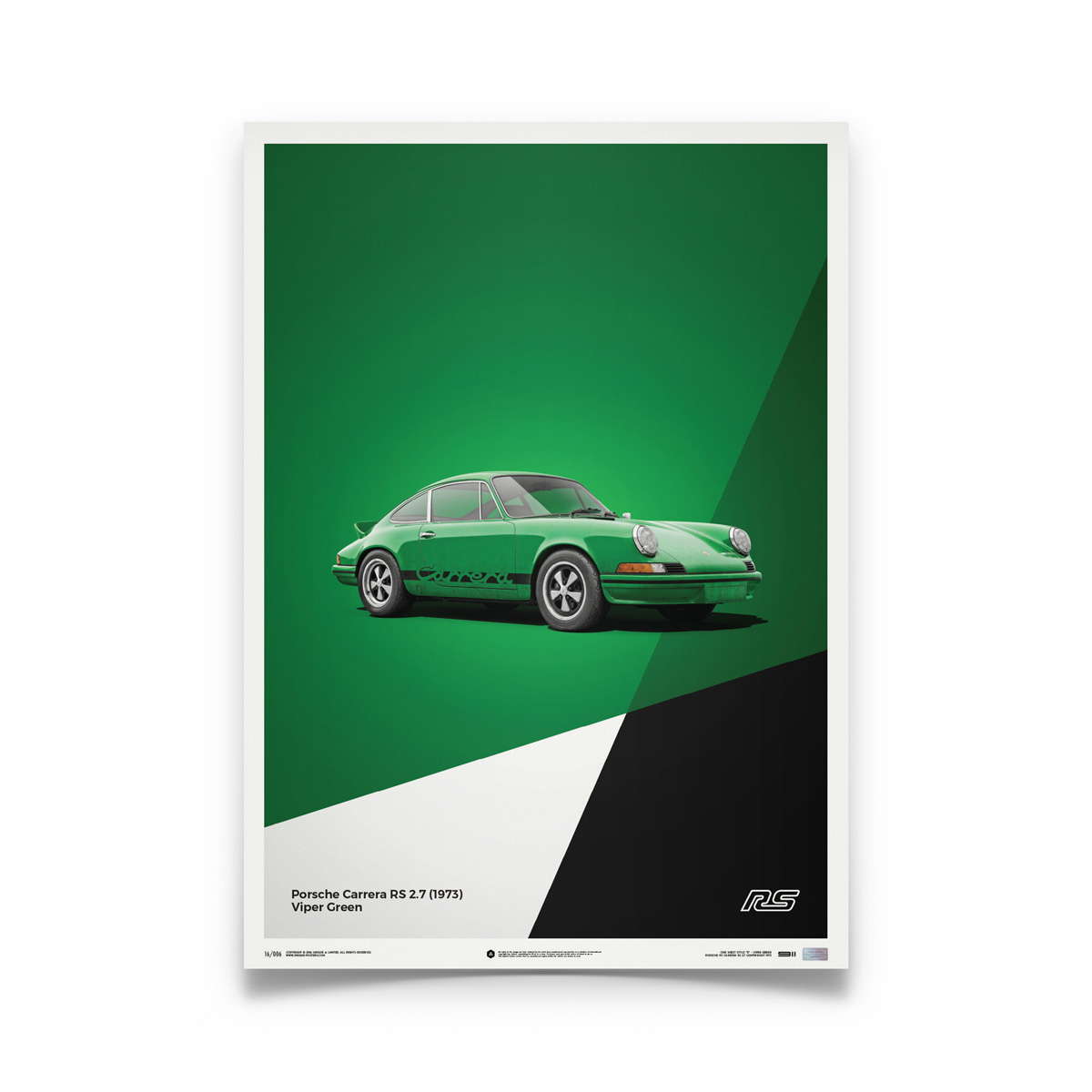 Product image for Porsche 911 RS – Green - 1973 | Automobilist | Limited Edition poster
