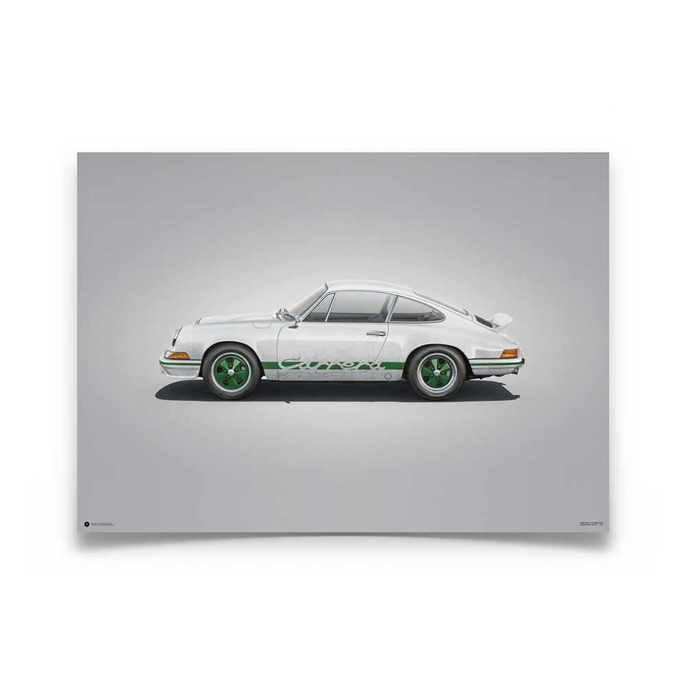 Product image for Colours of Speed | Porsche 911 RS – White - 1973 | Automobilist | Limited Edition poster