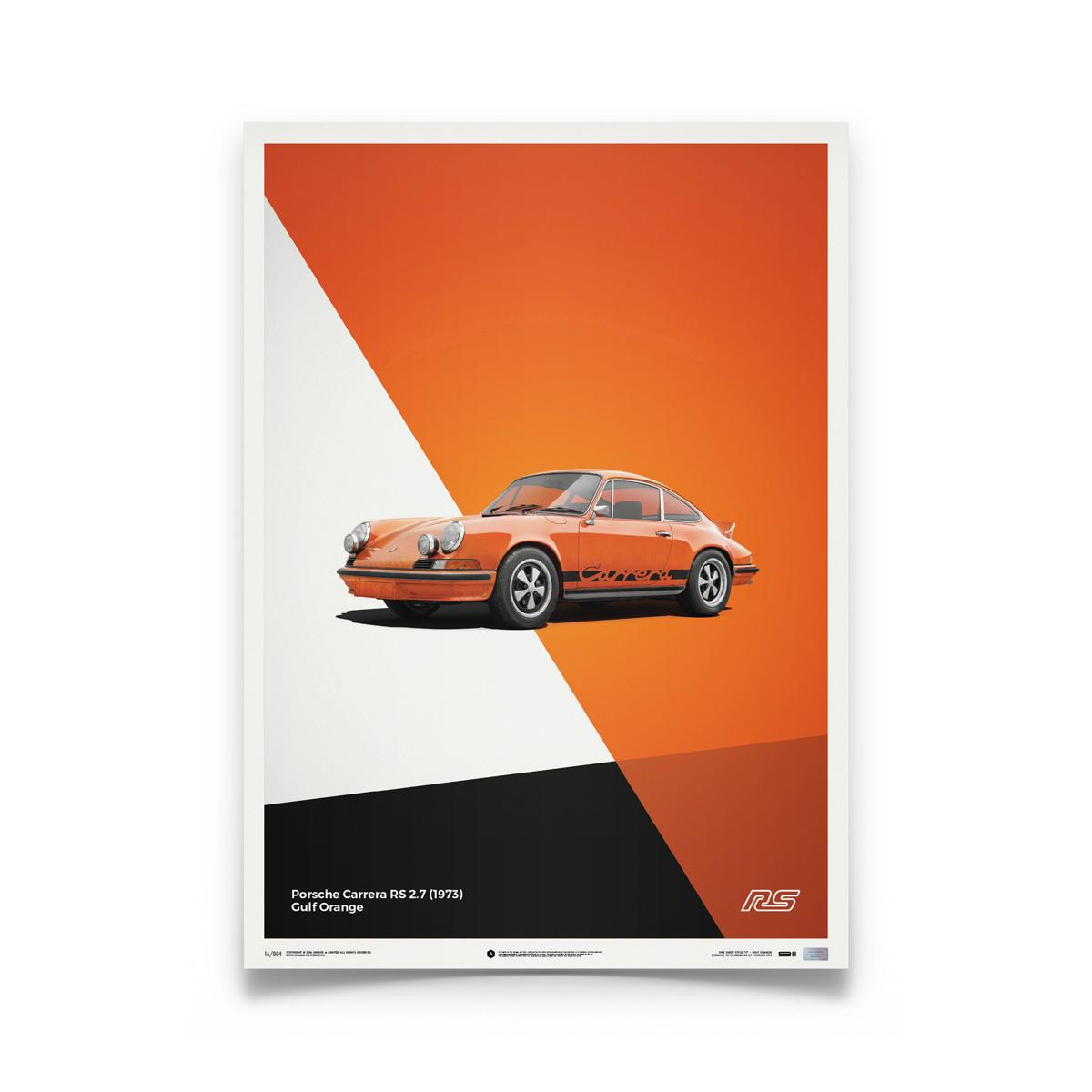 Product image for Porsche 911 RS – Orange – 1973   Automobilist   Limited Edition poster