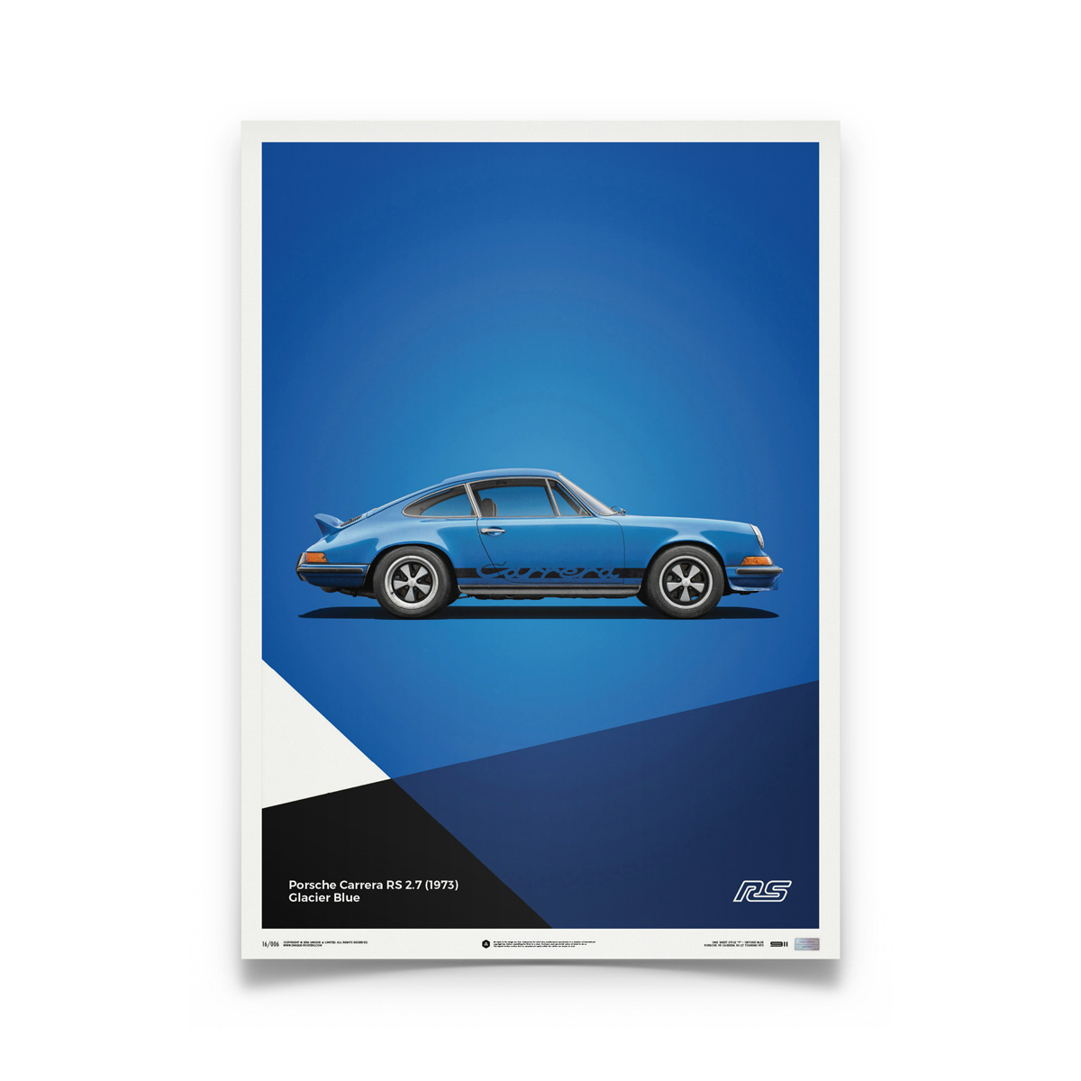 Product image for Porsche 911 RS – Blue – 1973 | Automobilist | Limited Edition poster