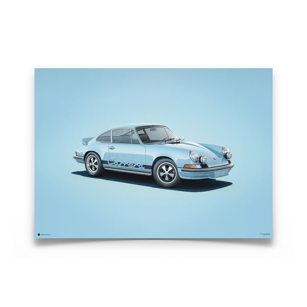 Product image for Colours of Speed | Porsche 911 RS – Blue - 1973 | Automobilist | Limited Edition poster